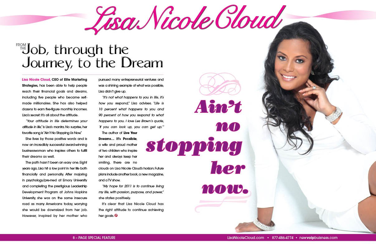 Lisa Nicole Cloud magazine spread layout, retouching and design by Instudio E